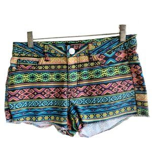 Forever 21 Multi-Colored Tribal Print Jean Shorts